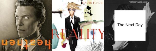 Die drei Cover von Jonathan Barnbrook für David Bowie.